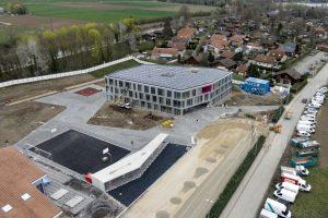 SALAVAUX LE 7 AVRIL 2016.Construction d'une nouvelle école pour les élèves de la commune de Vully-les-Lacs. (24 HEURES /Jean-Paul Guinnard)